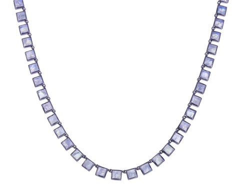 Small Rainbow Moonstone Riviere Tile Necklace