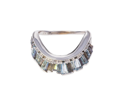 Aquamarine and Labradorite Ribbon Ring - TWISTonline