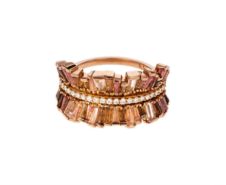 Peach Tourmaline, Zircon, Andalusite Double Ribbon Ring - TWISTonline