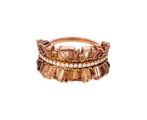 Peach Tourmaline, Zircon, Andalusite Double Ribbon Ring zoom 1_nak_armstrong_gold_mixed_gem_double_sided_ribbon