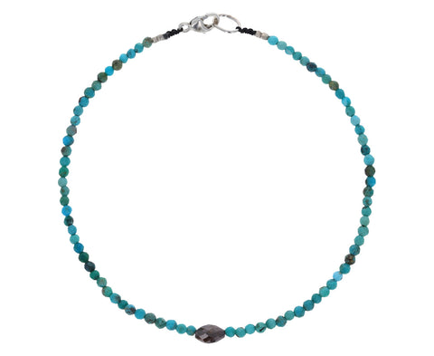 Turquoise and Rustic Diamond Beaded Bracelet