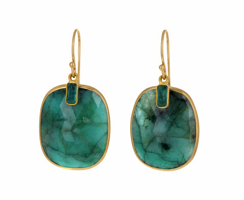 Double Emerald Earrings