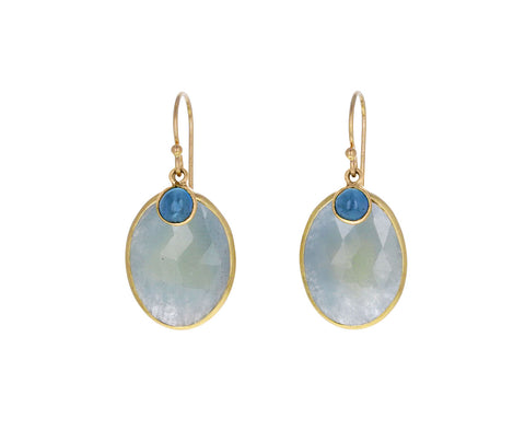 Blue Sapphire and Aquamarine Earrings