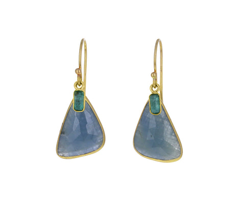 Blue Sapphire and Emerald Earrings