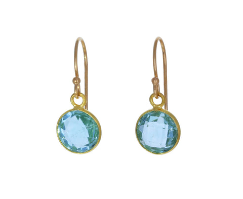 Round Blue Topaz Dangle Earrings - TWISTonline