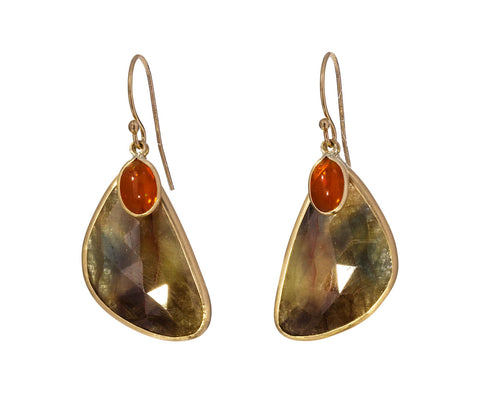 Natural Sapphire and Fire Opal Earrings