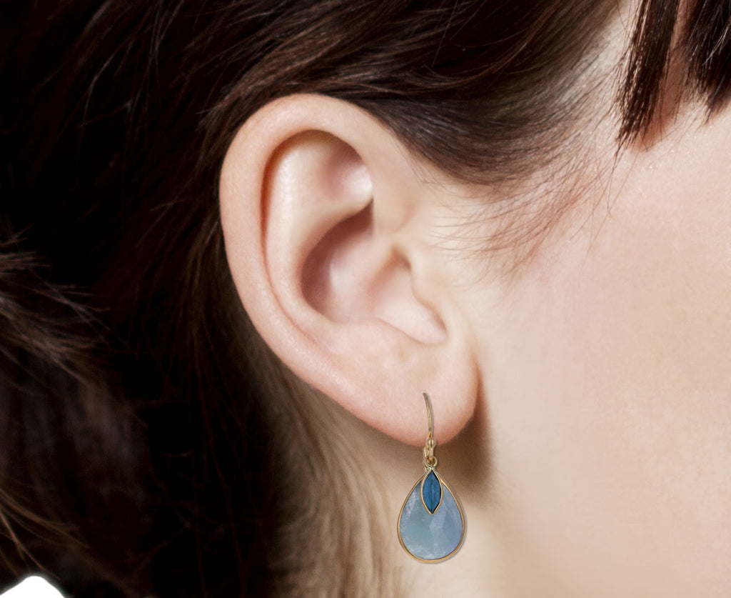 Pale Blue Sapphire and Marquise Blue Topaz Earrings