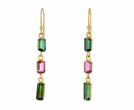 Triple Tourmaline Baguette Earrings