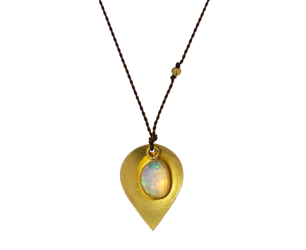 Opal and Gold Leaf Pendant Necklace - TWISTonline