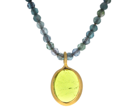 Yellow Tourmaline Pendant Necklace