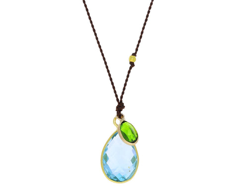Topaz and Chrome Diopside Pendant Necklace