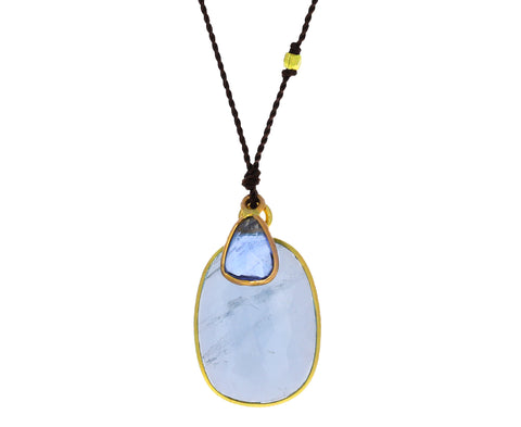 Aquamarine and Sapphire Pendant Necklace