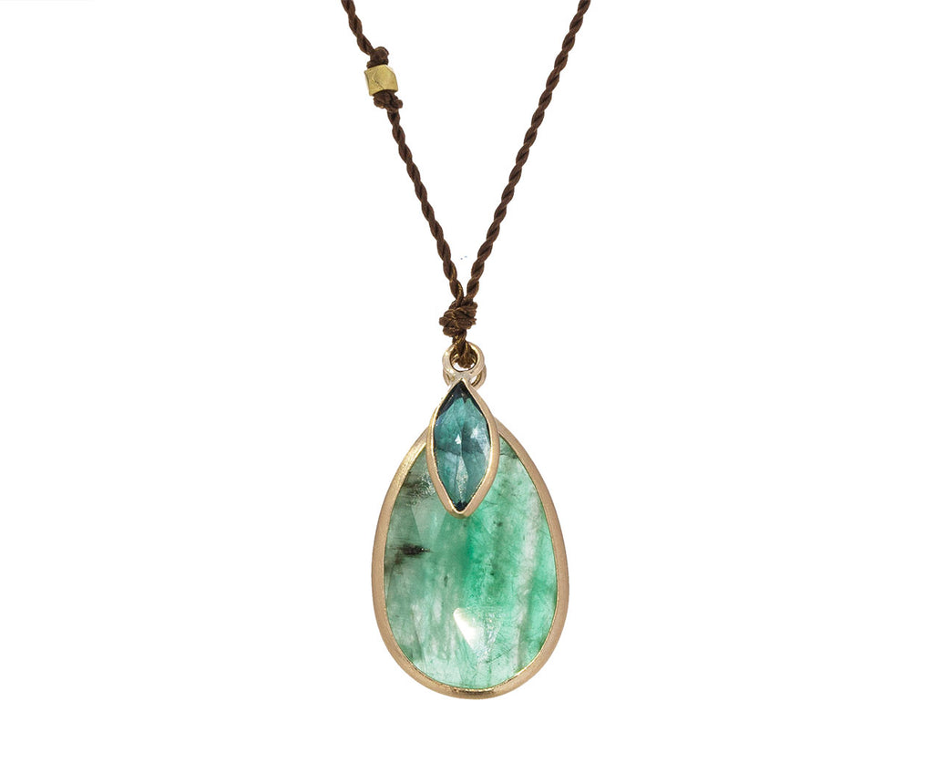 Emerald and Blue Topaz Pendant Necklace - TWISTonline