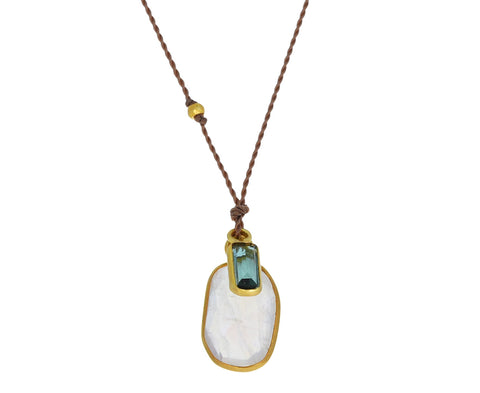 Rainbow Moonstone and Green Tourmaline Pendant Necklace