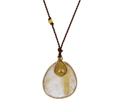 Rutilated Quartz and Diamond Necklace