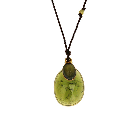 Double Green Tourmaline Pendant Necklace