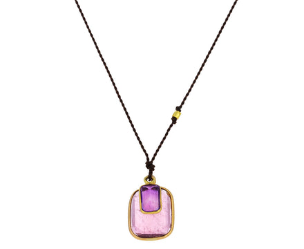 Pink Tourmaline and Amethyst Pendant Necklace