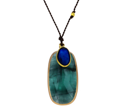 Opaque Emerald and Sapphire Pendant Necklace