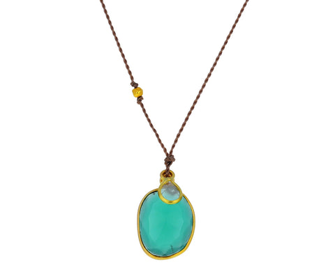 Green Onyx and Diamond Slice Pendant Necklace