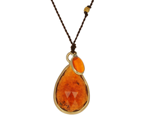 Hessonite Garnet and Fire Opal Necklace