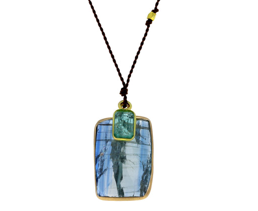 Kyanite and Emerald Pendant Necklace