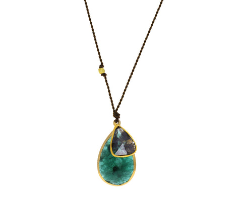 Emerald and Diamond Slice Pendant Necklace