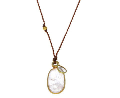Rainbow Moonstone and Diamond Pendant Necklace