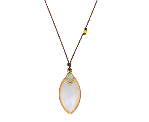 Mother-of-Pearl and Aquamarine Pendant Necklace