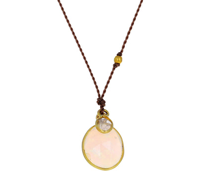 Opal and Diamond Slice Pendant Necklace