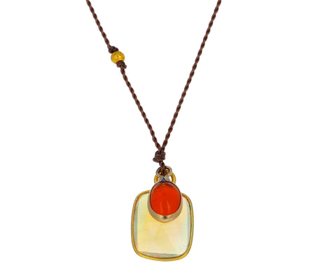Opal and Fire Opal Pendant Necklace