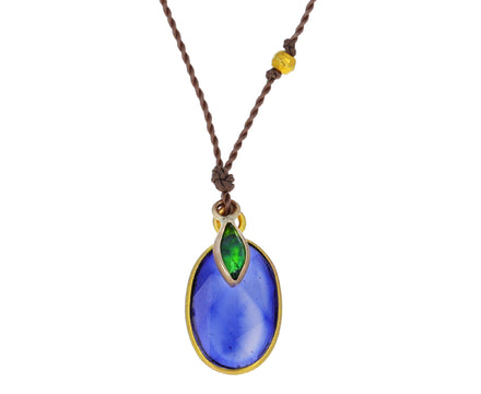 Blue Sapphire and Chrome Diopside Pendant Necklace