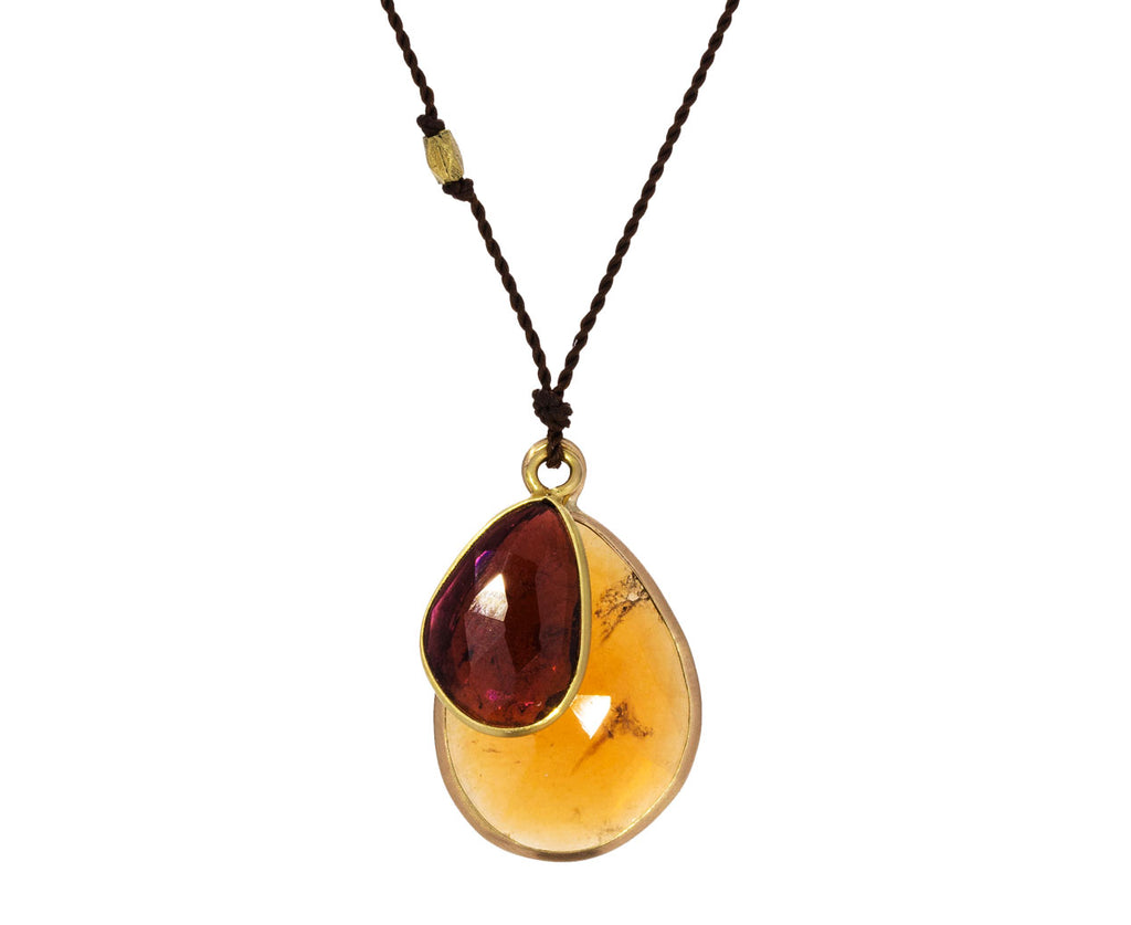 Spessartite Garnet and Maroon Tourmaline Necklace
