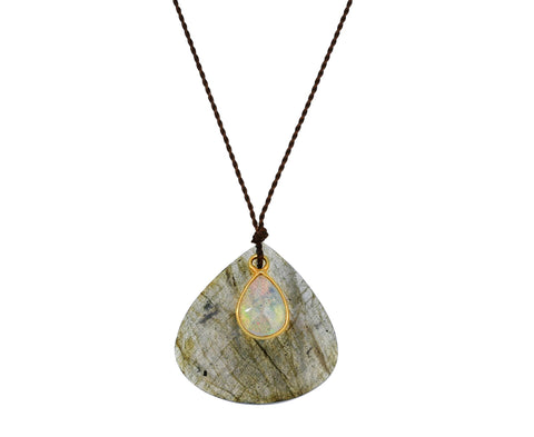 Tear Shaped Labradorite and Opal Necklace