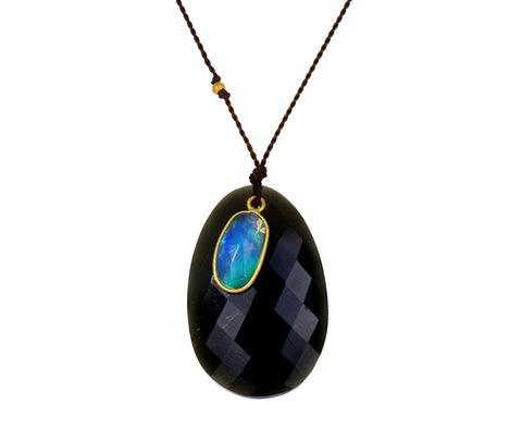 Obsidian and Opal Necklace