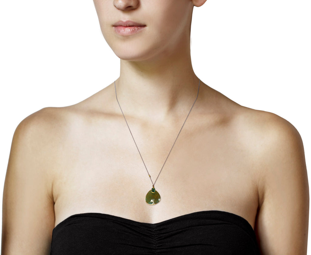 Green Sapphire and Green Tourmaline Pendant Necklace