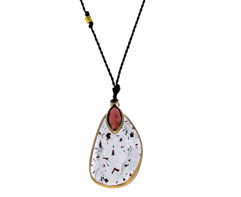 Strawberry Quartz and Garnet Pendant Necklace