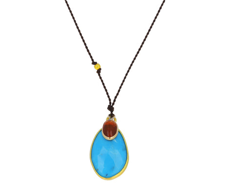 Turquoise and Fire Opal Pendant Necklace