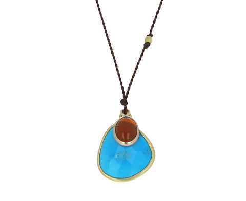 Turquoise and Fire Opal Necklace