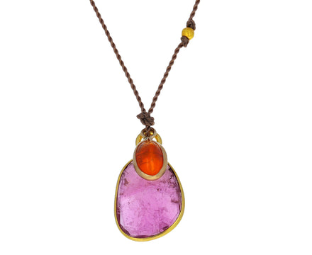 Pink Tourmaline and Fire Opal Pendant Necklace