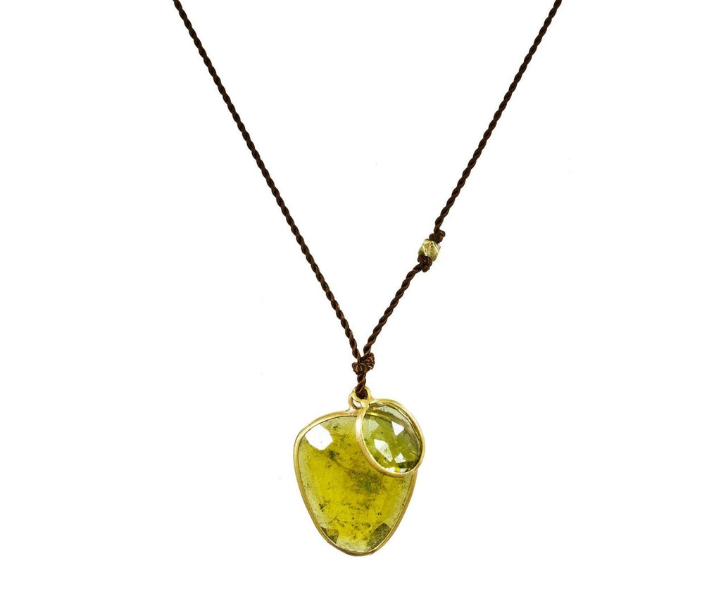 Double Green Tourmaline Drop Necklace zoom 1