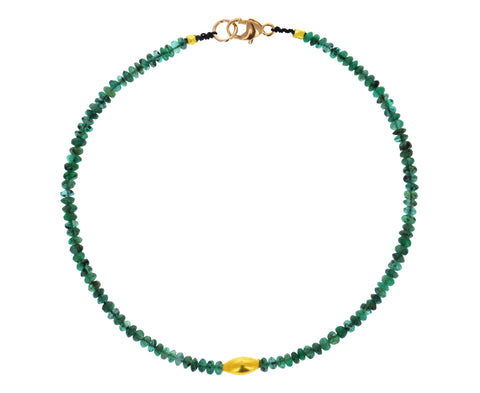 Emerald and Gold Beaded Bracelet