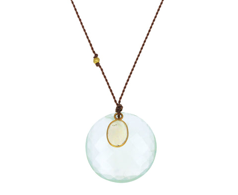 Prehnite and Opal Pendant Necklace