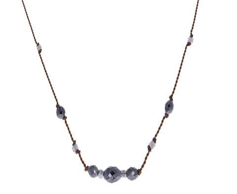 Gray and Black Diamond Beaded Necklace