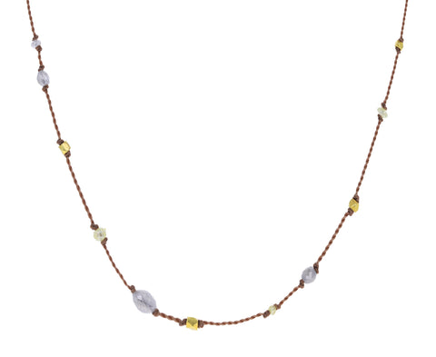 Gray Diamond Bead Necklace
