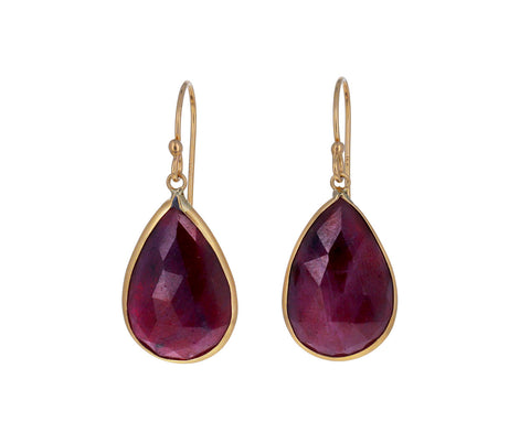 Opaque Ruby Drop Earrings