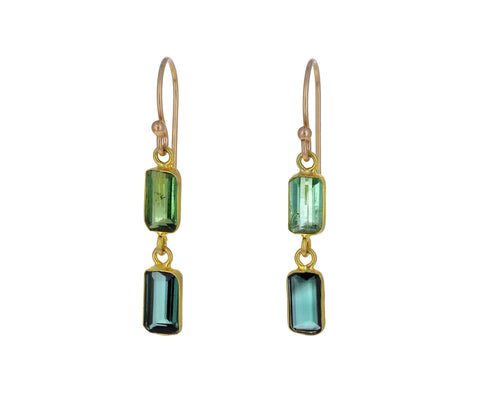 Double Green Tourmaline Baguette Earrings