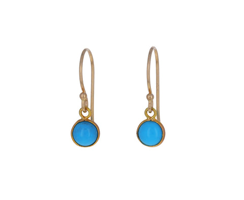 Round Turquoise Drop Earrings