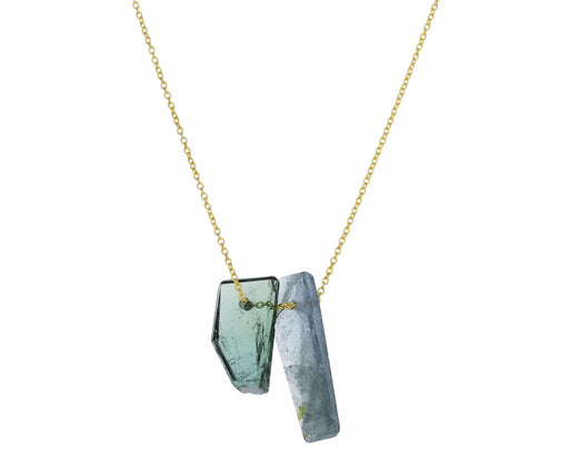 Blue and Green Tourmaline Pendant Necklace
