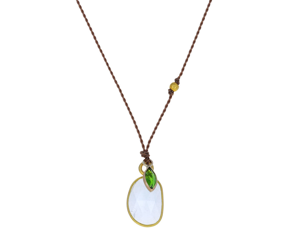 Aquamarine and Chrome Diopside Pendant Necklace