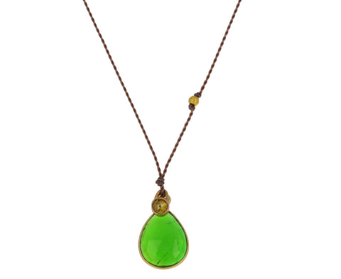 Chrome Diopside and Diamond Pendant Necklace